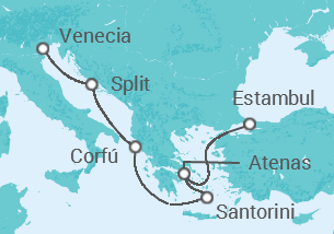 Resultado de imagen de Itinerario crucero Barcelona Venecia Split Corfú Santorini Atenas Estambul Turquía
