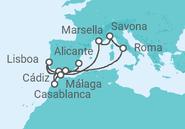 Itinerario del Crucero Italia, Francia, Marruecos, Portugal - Costa Cruceros