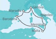 Novios 2017 Itinerario del Crucero Historia y cultura al sur de Italia - MSC Cruceros