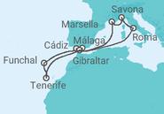 Itinerario del Crucero España, Portugal, Gibraltar, Italia, Francia - Costa Cruceros