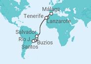 Itinerario del Crucero España, Brasil - MSC Cruceros