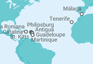 Itinerario del Crucero Desde Málaga al Caribe - Costa Cruceros