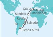 Itinerario del Crucero España, Marruecos, Cabo Verde, Brasil, Argentina - MSC Cruceros