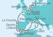 Itinerario del Crucero Gran recorrido por Europa - Costa Cruceros