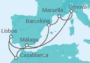 Novios 2017 Itinerario del Crucero Francia, Italia, Marruecos, Portugal - MSC Cruceros