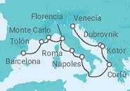 Novios 2017 Itinerario del Crucero Mediterráneo - Holland America Line