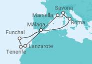 Itinerario del Crucero Italia, Francia, Portugal - Costa Cruceros